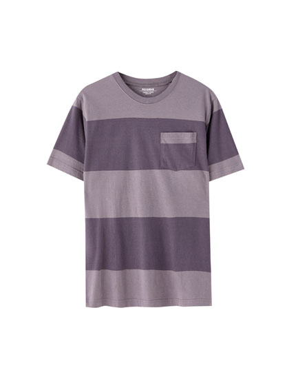 Thick stripe print T-shirt