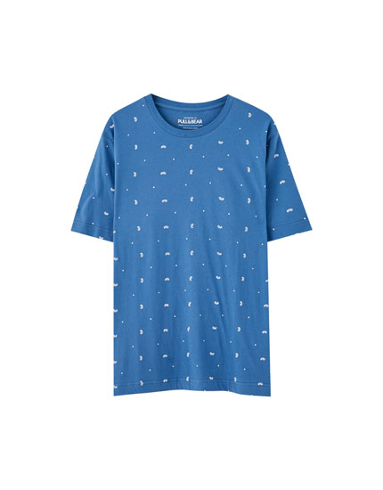 T-shirt com microestampado colorido