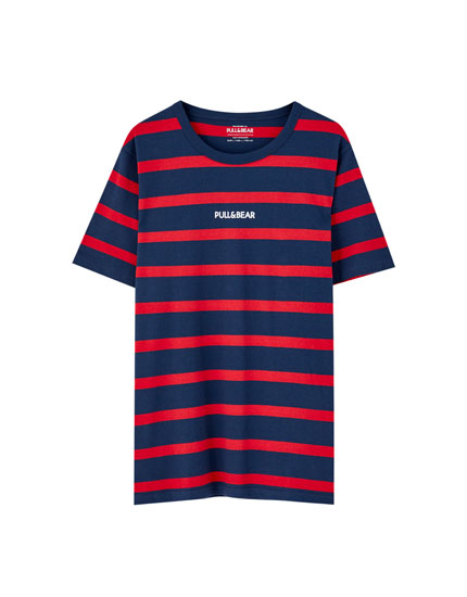T-shirt with stripes and logo
