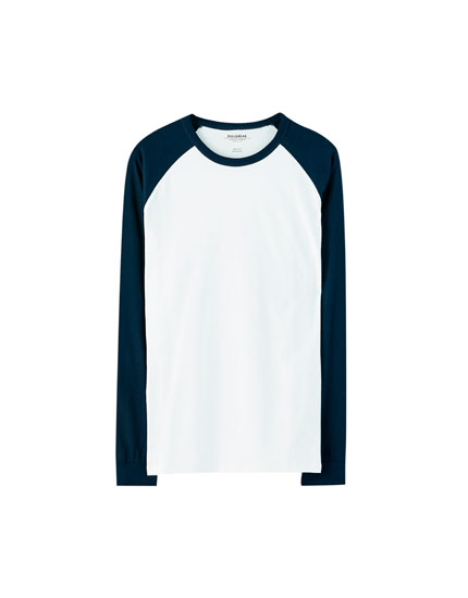 T-shirt with long contrast raglan sleeves