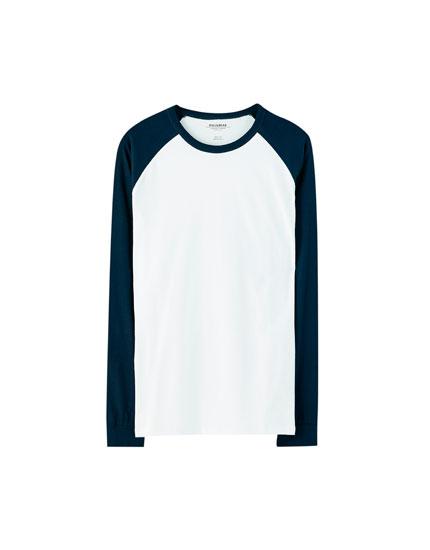 Μπλούζα με μακρύ μανίκι ρεγκλάν σε αντίθεση