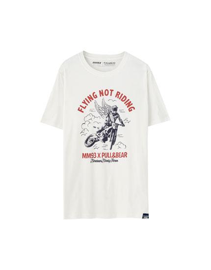 T-shirt Marc Márquez branca com estampado