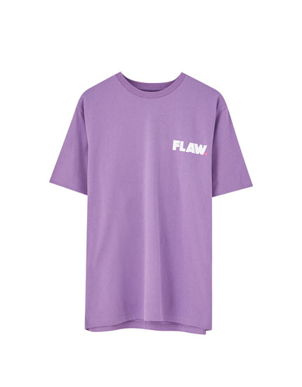 Purple slogan print T-shirt