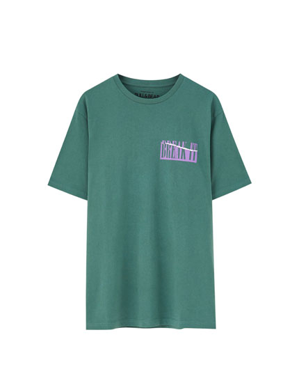 Green slogan print T-shirt