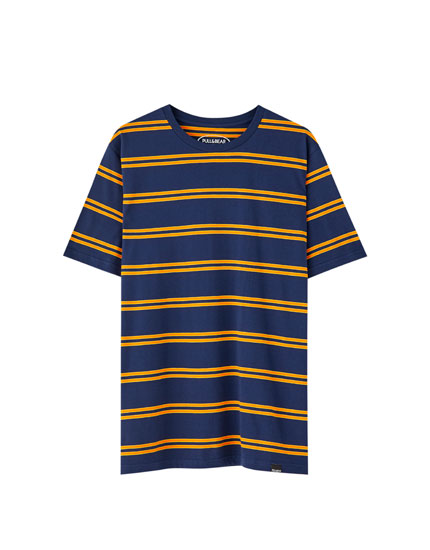 Striped T-shirt with contrast trim