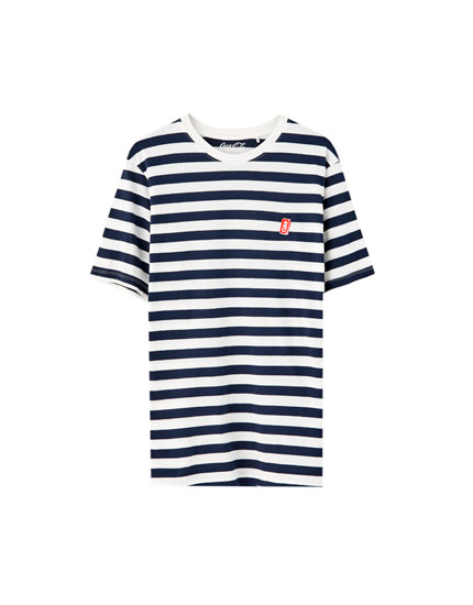 Striped T-shirt with Coca-Cola embroidery