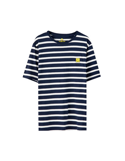Striped T-shirt with smiley face embroidery
