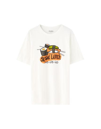 White sushi print T-shirt