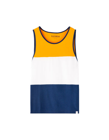 Mustard yellow colour block vest top