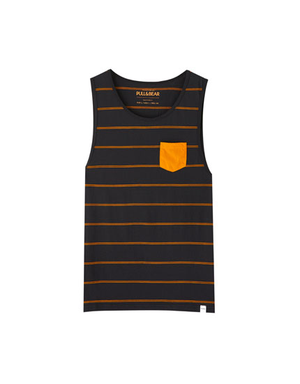 Mustard yellow stripe print vest top