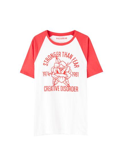 Camiseta manga raglán rib