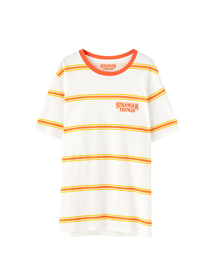 Stranger Things 3 striped T-shirt