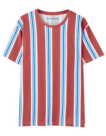 Camiseta básica rayas contraste