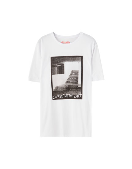 Staircase print and slogan T-shirt