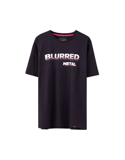 "Black ""Blurred metal"" T-shirt"