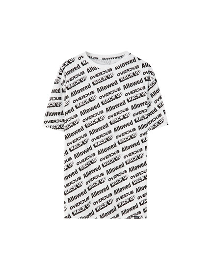 All-over contrast print T-shirt