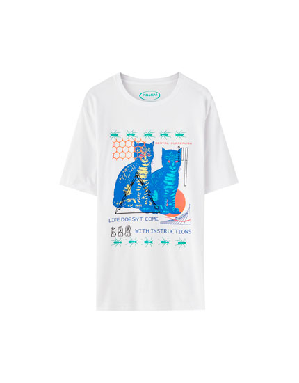Cat and figures illustration T-shirt