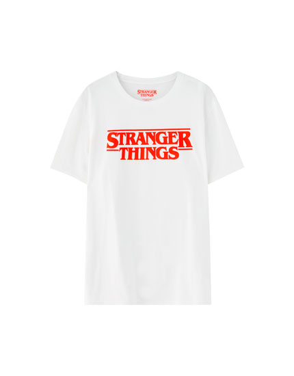 White Netflix Stranger Things logo T-shirt