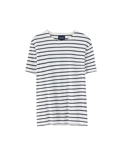 T-shirt às riscas de marinheiro