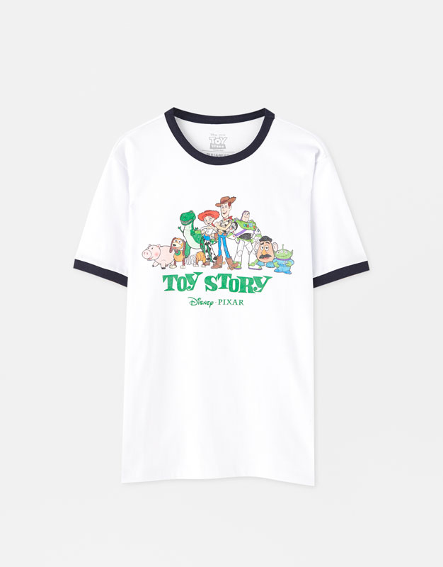 3e8d1c8cc PullAndBear - toy story t-shirt with contrast ribbing - off white -  09242505-