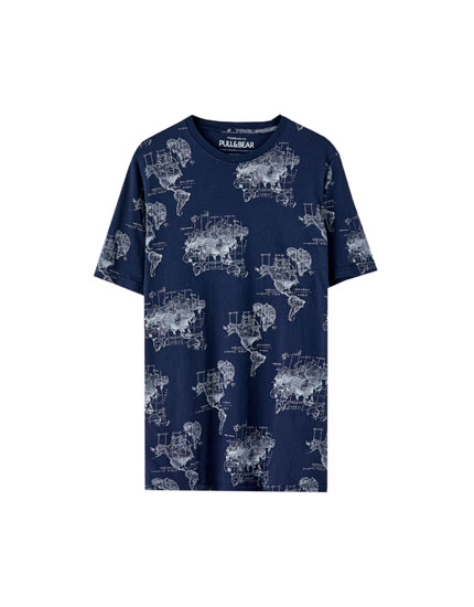 Blue world map T-shirt