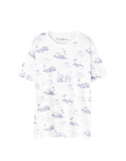 All-over island print T-shirt