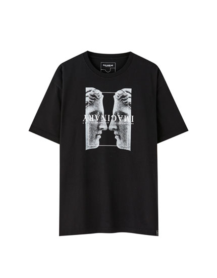 Black T-shirt with Greek-style silhouette print