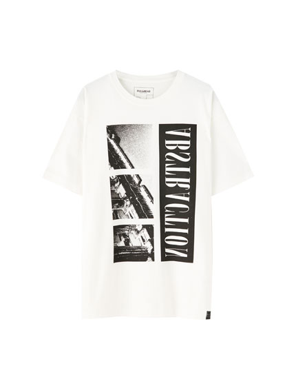 White T-shirt with a Greek column print