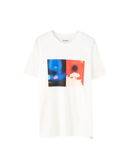 White T-shirt with colourful print