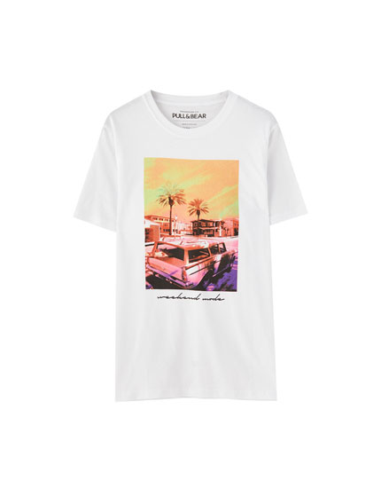 T-shirt with 'Weekend Mode' photographic print