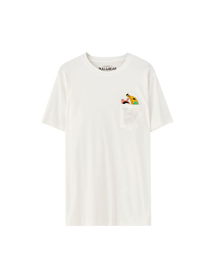 White T-shirt with a banana pocket