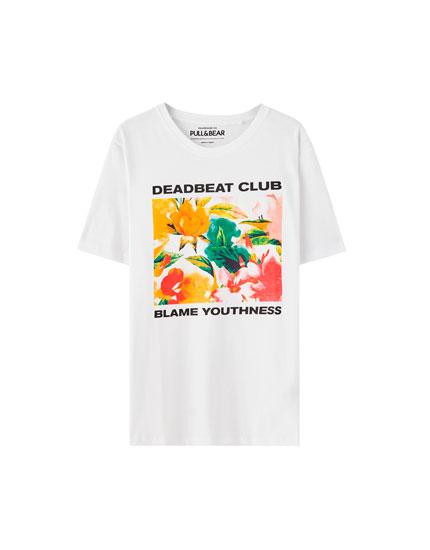 Floral print 'Deadbeat Club' T-shirt