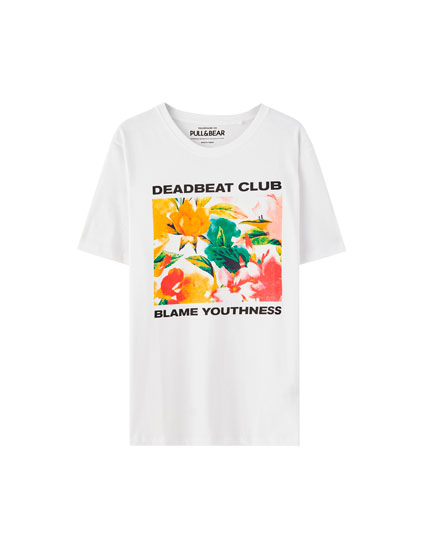 Floral print 'Deadbeat Club' T-shirt