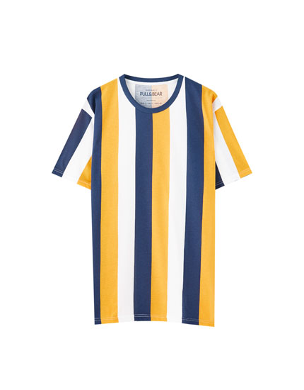 Mustard yellow vertical stripe T-shirt