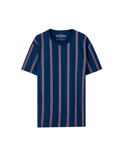 Blue T-shirt with red vertical stripes