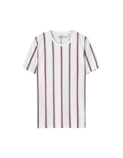 White T-shirt with vertical stripes
