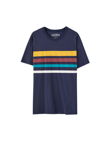 Blue T-shirt with horizontal stripes