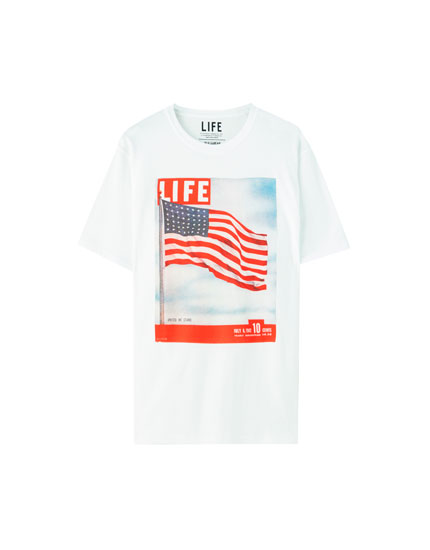 "T-shirt with ""Life"" and flag illustration"