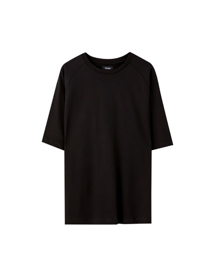 Oversized short raglan sleeve T-shirt