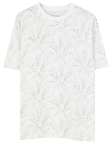 Large leaf print T-shirt