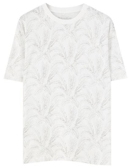 Μπλούζα εμπριμέ με μεγάλα φύλλα