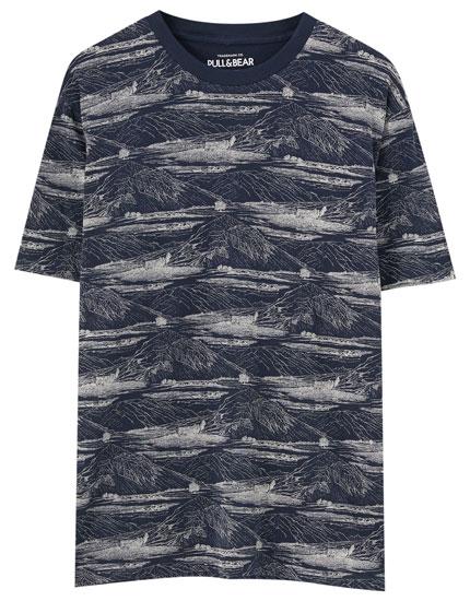 Camiseta print hojas grandes
