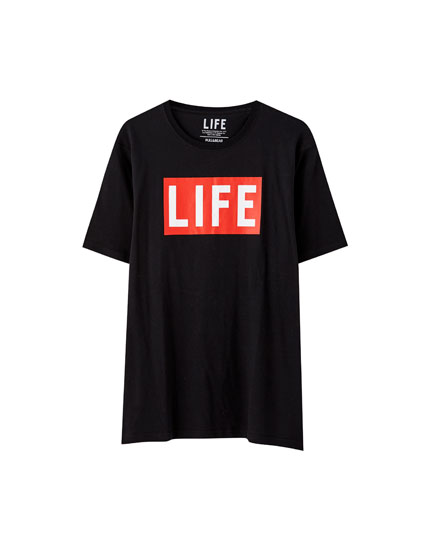 "Black ""Life"" illustration T-shirt"