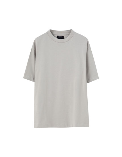 Basic T-shirt with ribbed neckline