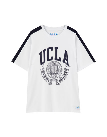 T-Shirt UCLA x Pull&Bear in Weiß