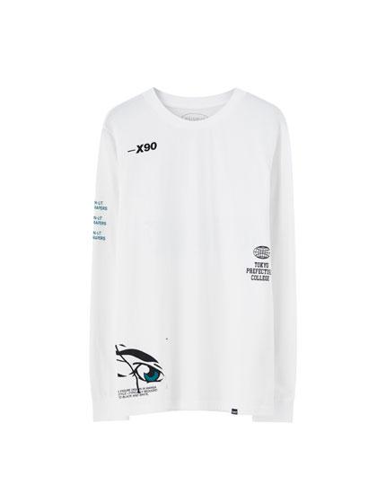 Λευκή μπλούζα με εικόνα σε άλλο χρώμα