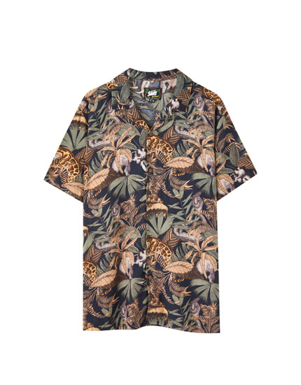 Tropical print viscose shirt