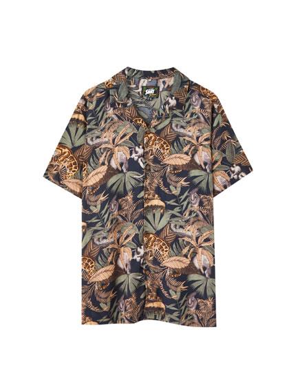 Camisa viscosa estampado tropical
