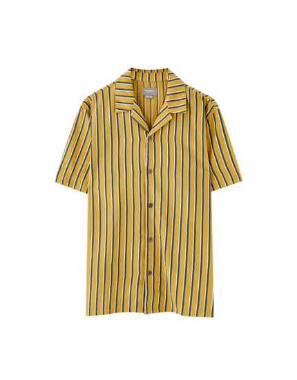 Striped lapel collar shirt