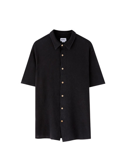 Faded-effect textured shirt